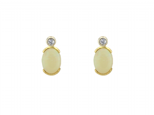 Opal And Diamond Oval Yellow Gold Earrings